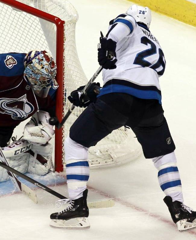 Colorado Avalanche goalie Semyon Varlamov, left, of Russia, stops a shot off the stick of Winnipeg Jets right wing Blake Wheeler in the third period of the Avalanche's 3-2 victory in an NHL hockey game in Denver on Sunday, Oct. 27, 2013