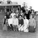 FILE - In this March 1959 photo, members of the LPGA International team pose for their first group photo at the Titleholders Golf Tourney, at an unknown location. Kneeling in the front row from left to right are, Patty Berg, St. Andrews, Ill.; Bonnie Randolph, Naples, Fla.; Louise Suggs, Sea Island, Ga.; Marlene Hagge, Delray Beach, Fla. and Wiffie Smith, St. Clair, Mich. Standing in back row from left are, Kathy Cornelius, Lake Worth, Fla.; Mickey Wright, San Diego, Ca.; Betty Jameson, San Antonio, Texas; Marilyn Smith, Wichita, Kansas; Beverly Hanson, Indio, Calif., and Fay Crocker, Wichita, Kansas. Beverly Hanson, rear, second from right, who died April 12, won 17 times and three majors in the first decade of the LPGA Tour. (AP Photo/File)