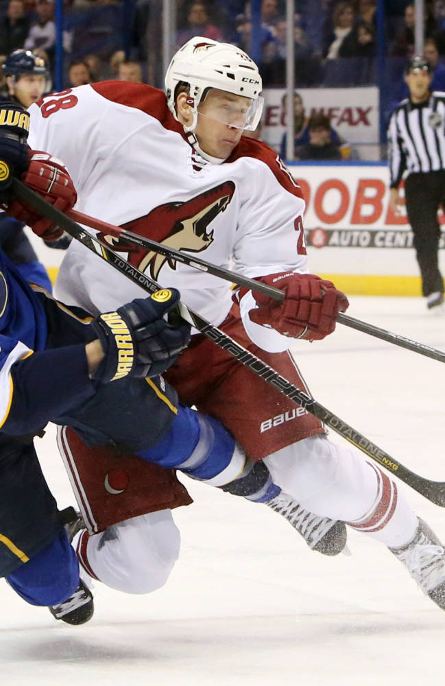 St. Louis Blues right wing Chris Stewart, left, gets a shot off as he is hit by Phoenix Coyotes left wing Lauri Korpikoski during the first period of an NHL hockey game Tuesday, Jan. 14, 2014, in St. Louis. The Blues won 2-1