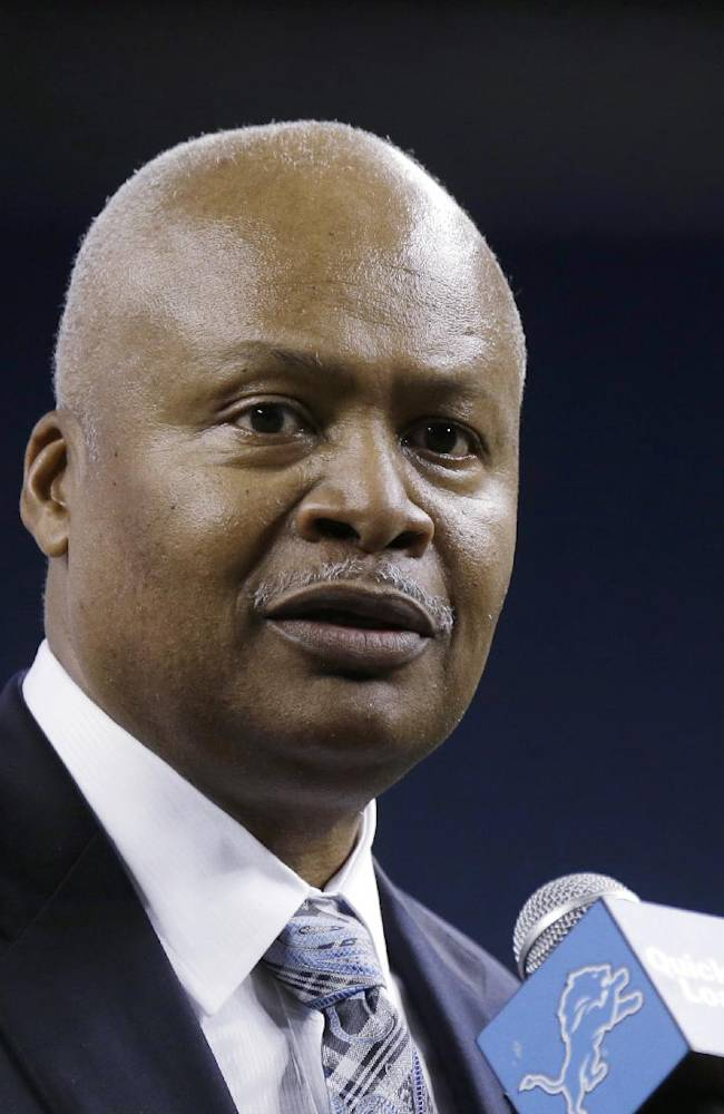 New Detroit Lions head coach Jim Caldwell addresses the media at Ford Field in Detroit, Wednesday, Jan. 15, 2014. Caldwell previously was the Baltimore Ravens quarterbacks coach and offensive coordinator