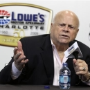 FILE - In this May 23, 2009, file photo, Lowe's Motor Speedway owner Bruton Smith talks about the 50th anniversary of the NASCAR Sprint Cup series Coca-Cola 600 auto race during a news conference in Concord, N.C.  The eccentric track owner this week suggested he might move a race away from Charlotte Motor Speedway at the exact same time a committee is considering electing him into the NASCAR Hall of Fame.   (AP Photo/Terry Renna, File)