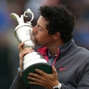 Rory McIlroy of Northern Ireland kisses the Claret Jug trophy after winning the British Open Golf championship at the Royal Liverpool golf club, Hoylake, England, Sunday July 20, 2014