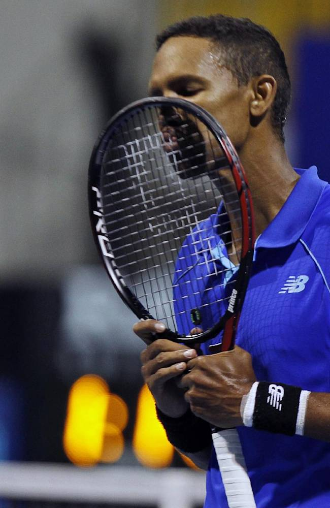 South Africa's Raven Klaasen reacts after losing the doubles final match with India's Leander Paes against Jonathan Marray of Britain and Lu Yen-hsun of Chinese Taipei  at the ATP Chennai Open 2015 in Chennai, India, Sunday, Jan. 11, 2015