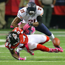 Chicago Bears safety Ryan Mundy(21) levels Atlanta Falcons wide receiver Roddy White knocking the ball lose for an incomplete pass during the second quarter in their NFL football game on Sunday, Oct. 12, 2014, in Atlanta The Associated Press