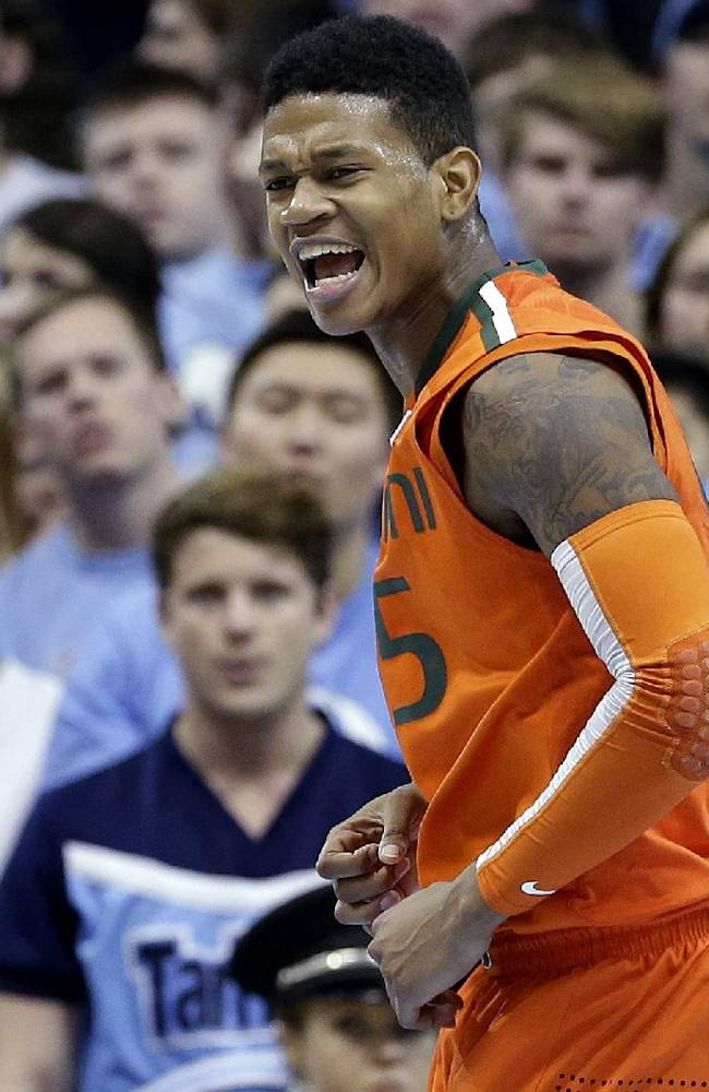 Miami's Rion Brown reacts following a basket against North Carolina during the first half of an NCAA college basketball game in Chapel Hill, N.C., Wednesday, Jan. 8, 2014. Miami won 63-57