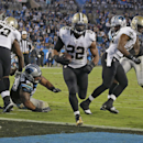 New Orleans Saints' Mark Ingram (22) runs into the end zone for a touchdown against the Carolina Panthers in the second half of an NFL football game in Charlotte, N.C., Thursday, Oct. 30, 2014 The Associated Press
