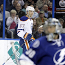 Edmonton Oilers left wing Benoit Pouliot (67) celebrates after scoring past Tampa Bay Lightning goalie Ben Bishop (30) during the first period of an NHL hockey game Thursday, Jan. 15, 2015, in Tampa, Fla The Associated Press