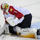 Florida Panthers goaltender Roberto Luongo makes a pad-save during the third period of an NHL hockey game against the Buffalo Sabres, Friday, Oct., 17, 2014, in Buffalo, N.Y. Florida won 1-0 The Associated Press