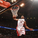 TORONTO, CANADA - MARCH 30: DeMar DeRozan #10 of the Toronto Raptors goes up for a dunk against the Houston Rockets on March, 30, 2015 at the Air Canada Centre in Toronto, Ontario, Canada. (Photo by Ron Turenne/NBAE via Getty Images)
