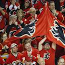 Calgary Flames fans cheer during the third period of Game 6 between the Flames and the Vancouver Canucks in a first-round NHL hockey playoff series, Saturday, April 25, 2015, in Calgary, Alberta. (Jeff McIntosh/The Canadian Press via AP)