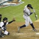 Detroit Tigers' Avisail Garcia hits a run-scoring single in the eighth inning of Game 2 of the American League championship series against the New York Yankees on Sunday, Oct. 14, 2012, in New York. (AP Photo/Kathy Willens)