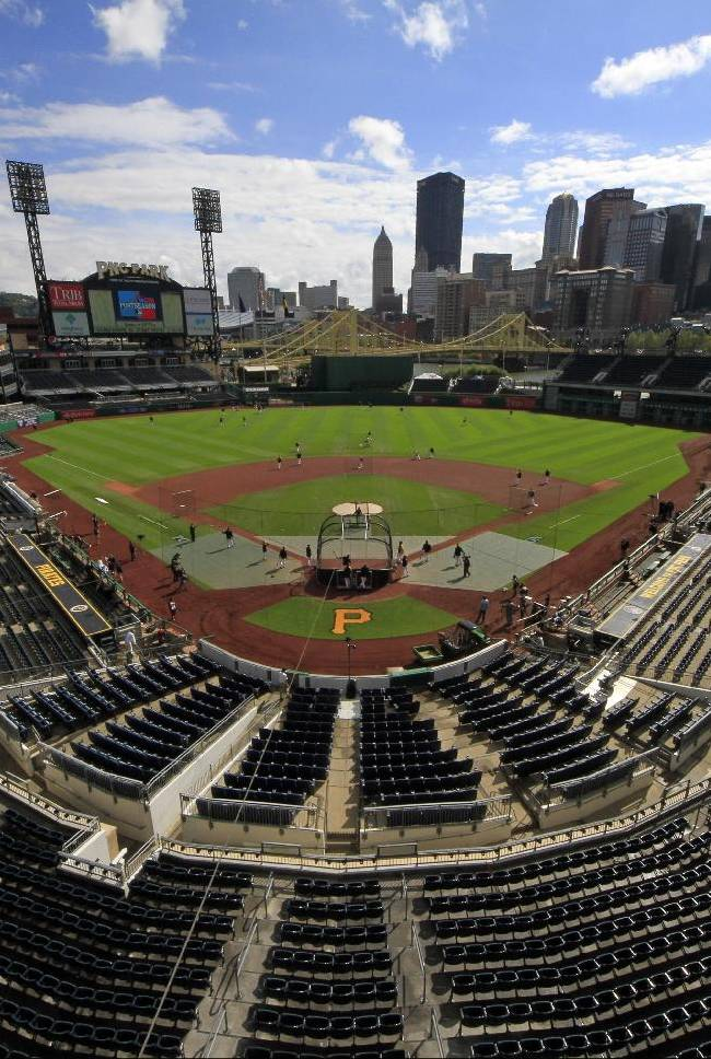 The Pittsburgh Pirates take batting practice at PNC Park before Game 4 of a National League division baseball series against the St. Louis Cardinals on Monday, Oct. 7, 2013 in Pittsburgh