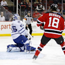 Toronto Maple Leafs goalie Jonathan Bernier (45) makes a save on a shot by the New Jersey Devils as right wing Steve Bernier (18) watches during the second period of an NHL hockey game, Wednesday, Jan. 28, 2015, in Newark, N.J The Associated Press