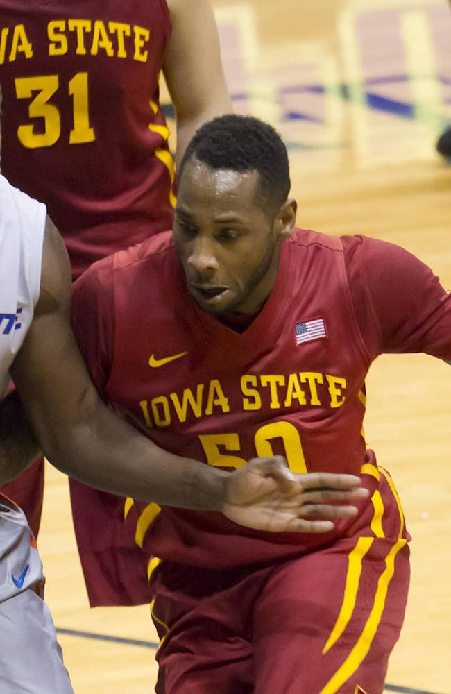 Iowa State guard DeAndre Kane (50) drives to the basket as Boise State guard Thomas Bropleh (4) defends during the first half of an NCAA college basketball game at the Diamond Head Classic on  Wednesday, Dec. 25, 2013, in Honolulu. Iowa State won 70-66
