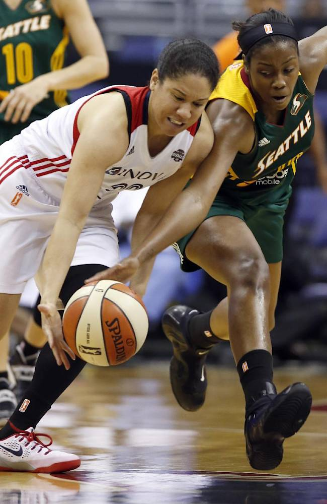 Washington Mystics guard Kara Lawson (20) and Seattle Storm forward Camille Little (20) go for a loose ball during the second half of a WNBA basketball game Saturday, May 24, 2014 in Washington. The Storm won 73-65