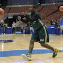 Baylor's Kenny Chery passes the ball during practice at the NCAA college basketball tournament Wednesday, March 26, 2014, in Anaheim, Calif. Baylor plays Wisconsin in a regional semifinal on Thursday. (AP Photo/Jae C. Hong)