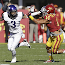 TCU wide receiver Brandon Carter (3) runs from Iowa State linebacker Jared Brackens after making a reception during the first half of an NCAA college football game, Saturday, Nov. 9, 2013, in Ames, Iowa The Associated Press