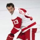 Detroit Red Wings' Pavel Datsyuk warms up prior to an NHL hockey game against the Montreal Canadiens in Montreal, Tuesday, Oct. 21, 2104. Datsyuk was cleared to play against Montreal after missing the first five games of the season with a shoulder injury