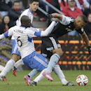 Montreal Impact defender Hassoun Camara (6) tackles Chicago Fire forward Quincy Amarikwa during the second half of an MLS soccer game on Sunday, Oct. 5, 2014, in Bridgeview, Ill. The teams tied 0-0 The Associated Press