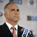 Rutgers head coach Kyle Flood talks to the media during the Big Ten Football Media Day in Chicago, Monday, July 28, 2014. (AP Photo/Paul Beaty)