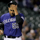 Colorado Rockies starting pitcher Franklin Morales (56) shows emotion during the fifth inning of a baseball gameagainst the Chicago White Sox, Tuesday, April 8, 2014, in Denver The Associated Press