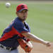 Cleveland Indians starting pitcher Daisuke Matsuzaka delivers against the Chicago White Sox in the first inning of a spring training baseball game Wednesday, March 27, 2013, in Glendale, Ariz. (AP Photo/Mark Duncan)