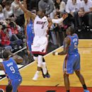 MIAMI, FL - JUNE 19:  Dwyane Wade #3 of the Miami Heat goes to the basket against the Oklahoma City Thunder during Game Four of the 2012 NBA Finals at American Airlines Arena on June 19, 2012 in Miami, Florida.  (Photo by Layne Murdoch/NBAE via Getty Images)