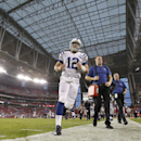 Indianapolis Colts' Andrew Luck (12) runs off the field after an NFL football game loss to the Arizona Cardinals Sunday, Nov. 24, 2013, in Glendale, Ariz. The Cardinals defeated the Colts 40-11 The Associated Press