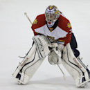 In this Monday, Sept. 21, 2014, photo, Florida Panthers goalie Al Montoya does a drill during NHL hockey training camp, in Coral Springs, Fla. The franchise that hasn't won a playoff series since 1996 is once again hoping things turn around quickly The As