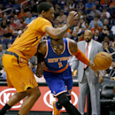New York Knicks' Amare Stoudemire (1) drives against Phoenix Suns' Channing Frye during the first half of an NBA basketball game, Friday, March 28, 2014, in Phoenix The Associated Press
