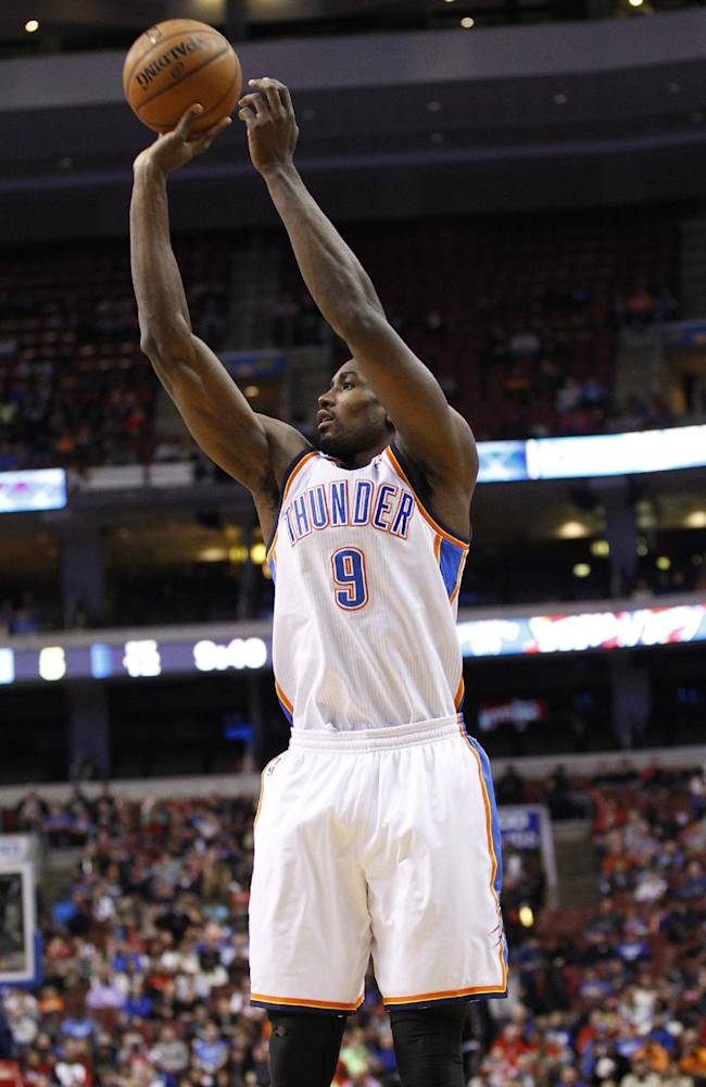 Oklahoma City Thunder's Serge Ibaka shoots during the first half of an NBA basketball game against the Philadelphia 76ers, Saturday, Jan. 25, 2014, in Philadelphia