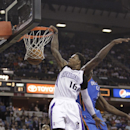 Sacramento Kings guard Ben McLemore (16) dunks against Oklahoma City Thunder forward Serge Ibaka, right, during the fourth quarter of an NBA basketball game, Tuesday, April 8, 2014, in Sacramento, Calif. The Thunder won 107-92 The Associated Press