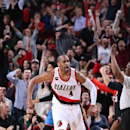 PORTLAND, OR - FEBRUARY 27: Arron Afflalo #4 of the Portland Trail Blazers celebrates during the game against the Oklahoma City Thunder on February 27, 2015 at the Moda Center in Portland, Oregon. (Photo by Sam Forencich/NBAE via Getty Images)