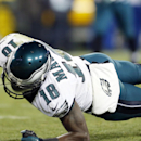 Philadelphia Eagles' Jeremy Maclin stretches for the end zone for a touchdown reception during the second half of an NFL football game against the Green Bay Packers Sunday, Nov. 16, 2014, in Green Bay, Wis The Associated Press