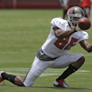 Tampa Bay Buccaneers wide receiver Solomon Patton goes low for a pass during an NFL football training camp Monday, July 28, 2014, in Tampa, Fla The Associated Press