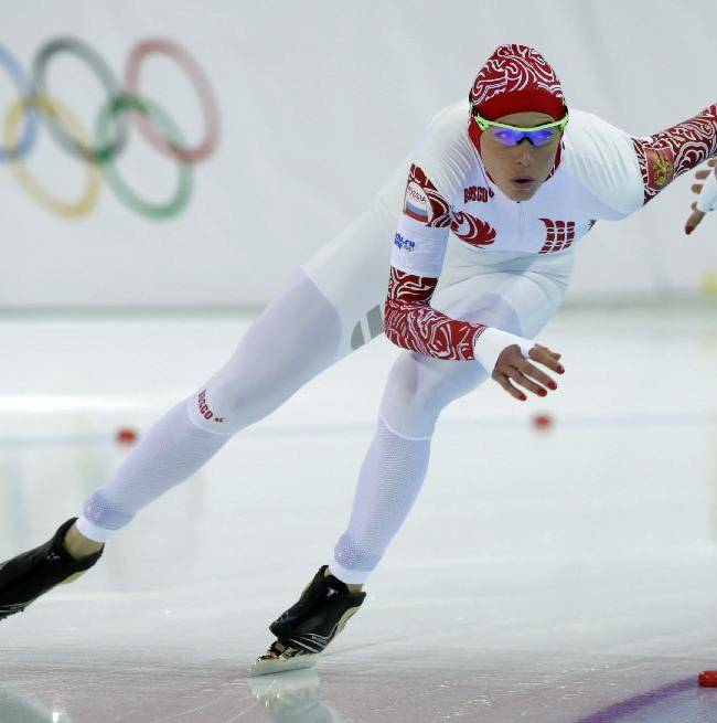 Russia's Yekaterina Lobysheva competes in the first heat of the women's 500-meter speedskating race at the Adler Arena Skating Center during the 2014 Winter Olympics, Tuesday, Feb. 11, 2014, in Sochi, Russia