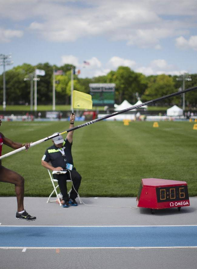 Yarisley Silva, of Cuba, competes in the women's pole vault during the IAAF Diamond League Grand Prix competition on Randall's Island, Saturday, June 14, 2014, in New York. Silva placed third