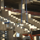 Construction workers eased upper level seat supports into place at the new Vikings stadium Monday, Oct. 20, 2014. Nine months after the old Metrodome was demolished, officials say the new stadium is 23 percent complete as of the end of September The Asso