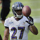 Baltimore Ravens running back Ray Rice tosses a football during a joint football practice with the San Francisco 49ers, Saturday, Aug. 9, 2014, in Owings Mills, Md The Associated Press