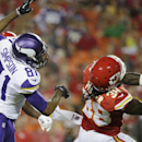 Kansas City Chiefs defensive back Ron Parker (38) intercepts a pass intended for Minnesota Vikings wide receiver Jerome Simpson (81) during the first half of an NFL preseason football game in Kansas City, Mo., Saturday, Aug. 23, 2014 The Associated Press