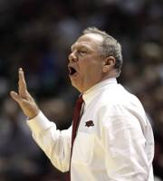 Arkansas coach Tom Collen calls a play during the first half of an NCAA women's tournament second-round college basketball game against Texas A&M on Monday, March 19, 2012, in College Station, Texas. (AP Photo/David J. Phillip