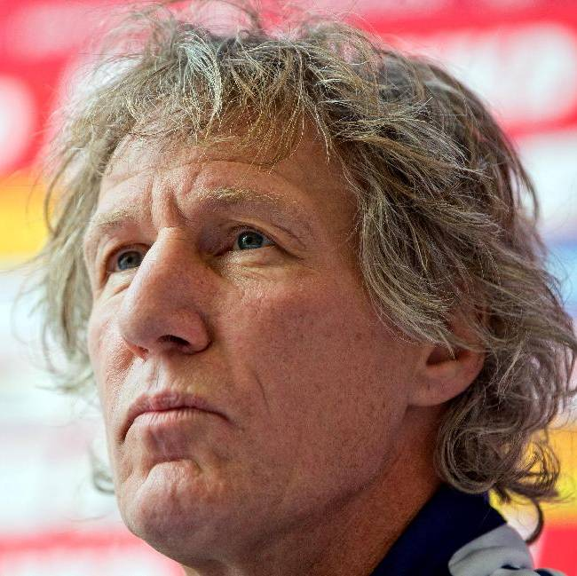 New head coach of Bundesliga soccer club FC Nuremberg, Gertjan Verbeek, attends  a press conference  in Nuremberg, Germany, Tuesday Oct. 22,  2013.  Nuremberg has appointed Dutchman Gertjan Verbeek as coach after a two-week search for a successor to the sacked Michael Wiesinger
