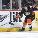 The Ducks' Emerson Etem chases for the puck during the first period against the Buffalo Sabres at Honda Center Wednesday night Oct. 22, 2014 The Associated Press