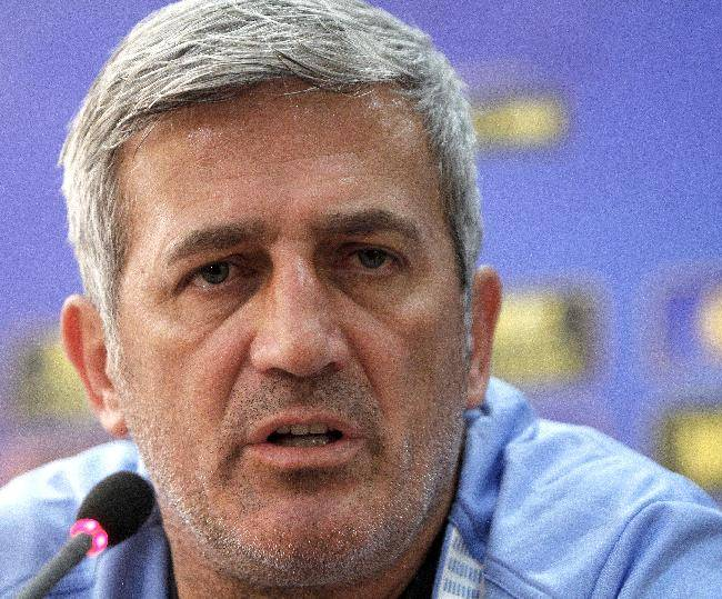 Lazio coach Vladimir Petkovic speaks during a news conference before a training session at the GSP stadium in Nicosia, Cyprus, Wednesday, Oct. 23, 2013. Lazio face Apollon in a Europa League group J soccer match on Thursday