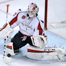 Washington Capitals goalie Braden Holtby makes a save during the second period of an NHL hockey game against the Chicago Blackhawks in Chicago, Friday, Nov. 7, 2014. Washington won 3-2 The Associated Press
