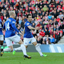 Everton's Leighton Baines, right, celebrates his goal with his teammates during their English Premier League soccer match against Sunderland at the Stadium of Light, Sunderland, England, Sunday, Nov. 9, 2014