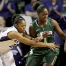 Kansas State guard Mariah White (22) tries to steal the ball from Baylor guard Kimetria Hayden (1) during the first half of an NCAA college basketball game, Wednesday, Jan. 16, 2013, in Manhattan, Kan. (AP Photo/Charlie Riedel)