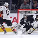 Anaheim Ducks center Ryan Getzlaf scores on Los Angeles Kings goalie Jonathan Quick during the second period of an NHL hockey game, Saturday, Jan. 17, 2015, in Los Angeles The Associated Press