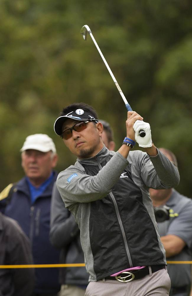 Masanori Kobayashi of Japan plays a shot from the 5th tee during a practice round at the Royal Liverpool Golf Club prior to the start of the British Open Golf Championship, in Hoylake, England, Monday, July 14, 2014. The 2014 Open Championship starts on Thursday, July 17