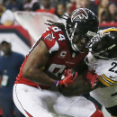 Pittsburgh Steelers cornerback William Gay (22) breaks up a pass for Atlanta Falcons wide receiver Roddy White (84) during the second half of an NFL football game, Sunday, Dec. 14, 2014, in Atlanta The Associated Press